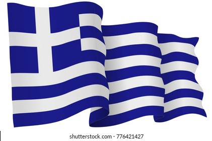 Greece flag waving isolated on white in vector format.