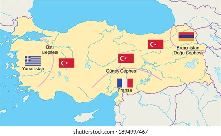 greece france and armenia fought fronts west south and east fronts turkish history map