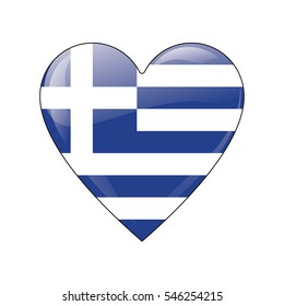 Greece. A fully editable vector illustration of a flag icon in a form of a shiny heart. EPS 10