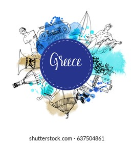 Greece. Hand drawn vector background