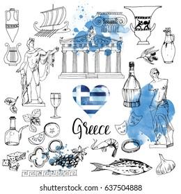 Greece. Hand drawn vector set