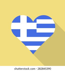 Greece  heart flag flat style with long shadow. Patriotic design. Vector EPS10