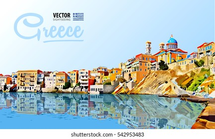 Greece holidays - clear sea and the reflection. Islands. Panorama city. Landscape. Vector illustration.