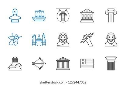 greece icons set. Collection of greece with column, parthenon, artemis, olympus, plato, zeus, aristotle, pierrade, olive, trireme, statue. Editable and scalable greece icons.