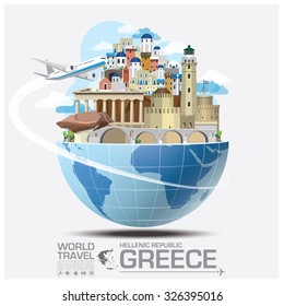 Greece Landmark Global Travel And Journey Infographic Vector Design Template