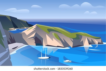 greece landscape with mountains and sea