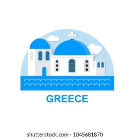 Greece Logo. Santorini city background, flat icon travel design.