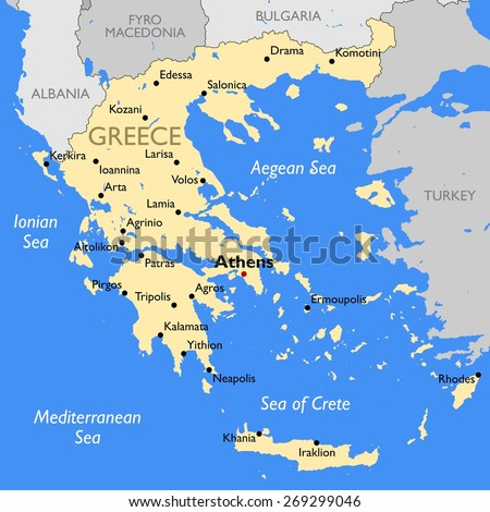 Greece Map Stock Vector (Royalty Free) 269299046 - Shutterstock