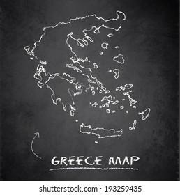 Greece map blackboard chalkboard vector