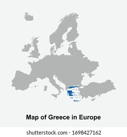 Greece map colored with flag colors in Europe isolated vector illustration