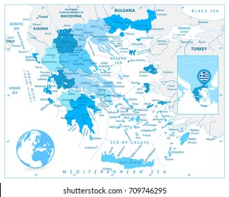 Greece Map in Colors of Blue. Detailed vector map of Greece.