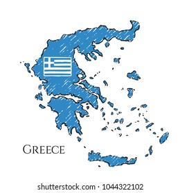 Greece map hand drawn sketch. Vector flag, children's drawing.