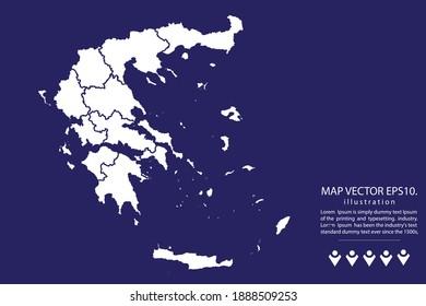 Carte de Grèce Haute Détail sur fond bleu.