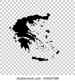 Greece map isolated on transparent background. Black map for your design. Vector illustration, easy to edit.
