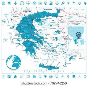 Greece Map and Navigation Icons. Detailed vector map of Greece with roads, highways and roads.