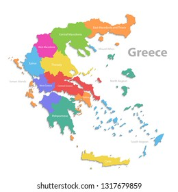 Greece map, new political detailed map, separate individual regions, with state names, isolated on white background 3D vector
