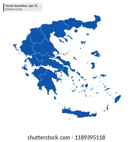 greece map with regions vector illustration on white background
