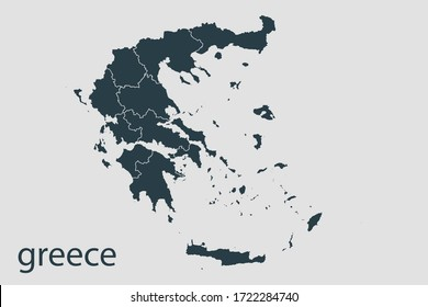 Greece map vector, Abstract design vector illustration Eps 10. Navy color. High Detailed on white background.