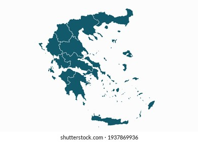 Greece map vector. blue color on white background.