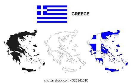 Greece map vector, Greece flag vector, isolated Greece