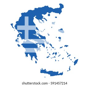 Greece map vector with the greek flag on white background