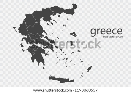 Greece Map Vector Isolated On Transparent Stock Vector (Royalty Free ...