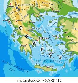 Greece physical vector map