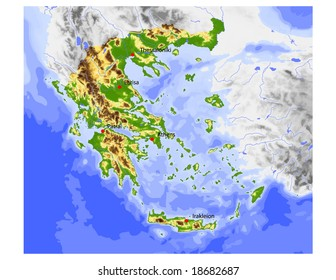 Greece. Physical vector map, colored according to elevation, with rivers, ocean depths and selected cities. Surrounding territory greyed out. 58 layers, fully editable. Data source: NASA