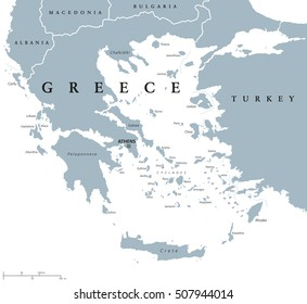 Greece political map with capital Athens, with most important peninsulas and islands, with national borders and neighbor countries. Gray colored illustration with English labeling over white.