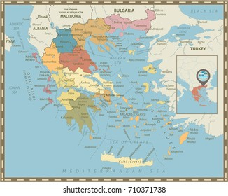 Greece Political Map Vintage Colors. Detailed vector map of Greece.