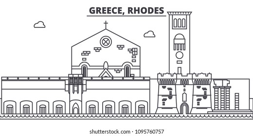 Greece, Rhodes line skyline vector illustration. Greece, Rhodes linear cityscape with famous landmarks, city sights, vector landscape.