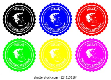 Greece - rubber stamp - vector, Hellenic Republic (Hellas) map pattern - sticker - black, blue, green, yellow, purple and red