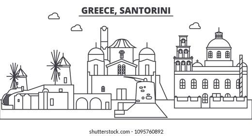Greece, Santorini line skyline vector illustration. Greece, Santorini linear cityscape with famous landmarks, city sights, vector landscape.