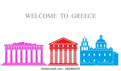 Greece set. Isolated Greece architecture on white background