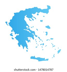 Greece silhouette, flat vector illustration blue color isolated on white. Detailed Greek map for tour design or tourist cruise.