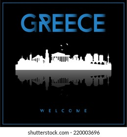 Greece skyline silhouette vector design on parliament blue and black background.