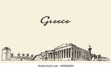 Greece skyline, vintage engraved illustration, hand drawn, sketch