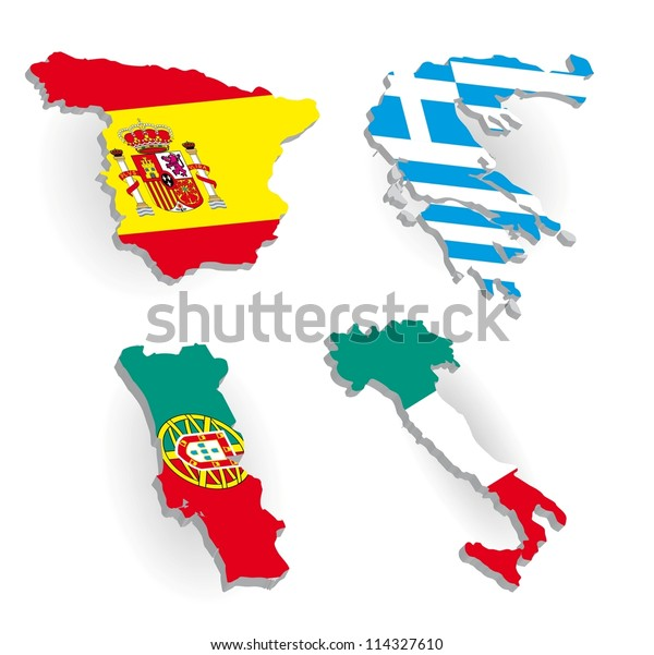Map Of Spain Portugal And Italy.Greece Spain Portugal Italy Country Maps Stock Vector Royalty Free