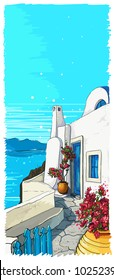 Greece summer island landscape. Santorini hand drawn vertical vector background. Picturesque sketch. Ideal for card, invitation, banners, posters.