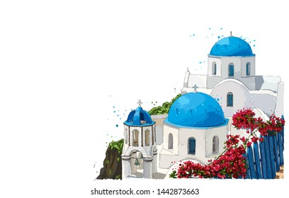Greece summer island landscape with traditional greek church isolated. Santorini hand drawn vector horizontal background. Picturesque sketch. Ideal for cards, invitations, banners, posters.