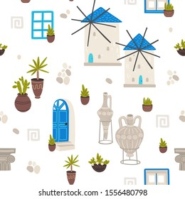 Greece symbols cartoon vector seamless pattern.
