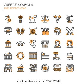 Greece Symbols , Thin Line and Pixel Perfect Icons