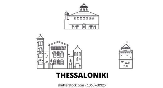 Greece, Thessaloniki line travel skyline set. Greece, Thessaloniki outline city vector illustration, symbol, travel sights, landmarks.