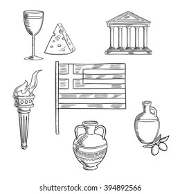 Greece traditional symbols and objects with national flag, Parthenon temple and ancient amfora, torch with flame and olive oil,  wine and cheese