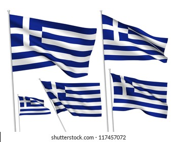 Greece vector flags set. 5 wavy 3D cloth pennants fluttering on the wind. EPS 8 created using gradient meshes isolated on white background. Five fabric flagstaff design elements from world collection