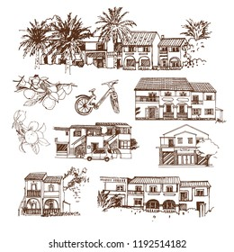 Greece. Vector sketches of the island of Corfu. The architecture of villas and hotels, plants, bicycle. Hand drawn illustration.
