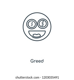 Greed concept line icon. Linear Greed concept outline symbol design. This simple element illustration can be used for web and mobile UI/UX.