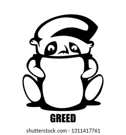 greed. hand drawn vector monochrome outline cartoon character illustration with white background