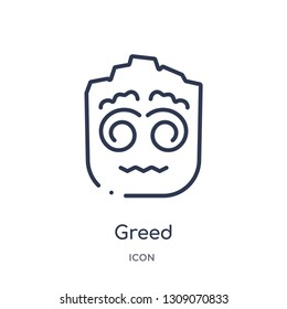 greed icon from smiles outline collection. Thin line greed icon isolated on white background.