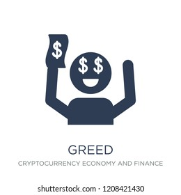 Greed icon. Trendy flat vector Greed icon on white background from Cryptocurrency economy and finance collection, vector illustration can be use for web and mobile, eps10